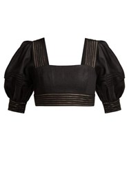 Zimmermann Corsage Balloon Sleeved Linen Cropped Top Black