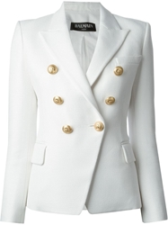 Balmain Structured Double Breasted Blazer White