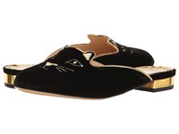 Charlotte Olympia Kitty Slipper Black Gold Velvet Metallic Calfskin Women's Slippers