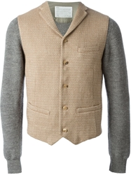 Kolor Faux Waistcoat Cardigan Nude And Neutrals