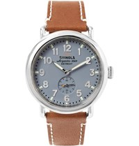 Shinola The Runwell 41Mm Stainless Steel And Leather Watch Brown