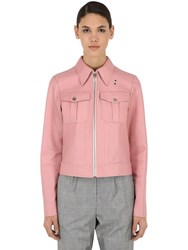 Calvin Klein Cropped Leather Jacket Pink