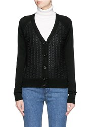 See By Chloe Eyelet Lace Front Wool Cardigan Black