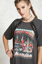 Forever 21 Highway Warrior Graphic Tee Dark Grey Black