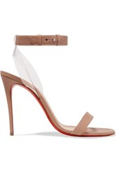 Christian Louboutin Jonatina 100 Pvc Trimmed Leather Sandals Beige
