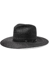 Rag And Bone Faux Leather Tried Straw Fedora Black