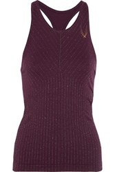 Lucas Hugh Stardust Metallic Stretch Jersey Tank Plum