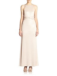 Abs By Allen Schwartz Sheer Paneled Gown Champagne