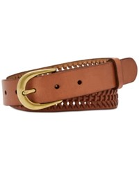 Fossil Woven Leather Belt Tan