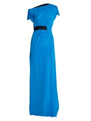 Roland Mouret Minton Asymmetric Draped Silk Dress Blue