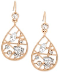 Inc International Concepts Rose Gold Tone Crystal Openwork Teardrop Drop Earrings Only At Macy's