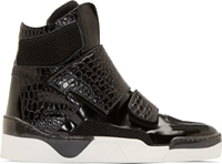 Giuliano Fujiwara Black Croc Embossed High Top Sneakers