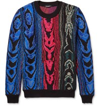 Balmain Jacquard Knit Cotton Blend Sweater Blue