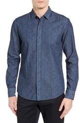 Hugo Men's Boss Reid Trim Fit Print Denim Sport Shirt