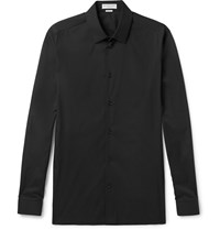 Balenciaga Slim Fit Stretch Cotton Blend Poplin Shirt Black