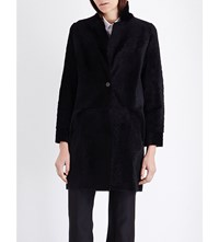 Karl Donoghue Collarless Reversible Shearling Coat Onyx