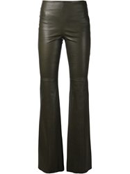 Hellessy Flared Leather Trousers Green
