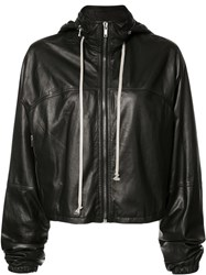 Rick Owens Oversized Leather Windbreaker Black