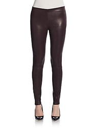 J Brand Mid Rise Leather Leggings Barolo Red