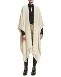 Chufy Embroidered Wool Ruana Shawl White
