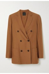 Agnona Eternals Double Breasted Wool Twill Blazer Brown