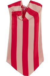 Juan Carlos Obando Striped Silk Crepe De Chine Top Red