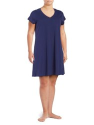 Lord And Taylor Plus Cap Sleeve Cotton Nightshirt Soft Navy