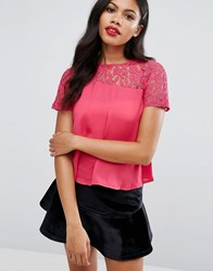 Girls On Film Lace Top Hot Pink
