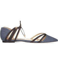 Jimmy Choo Hime Flat Washed Canvas K Navy Black Navy Black