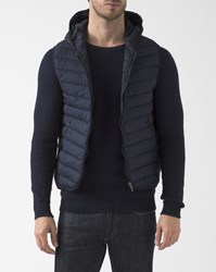 Scotch And Soda Navy Blue Sleeveless Hooded Down Jacket
