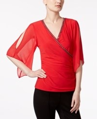 Msk Embellished Flutter Sleeve Faux Wrap Top Vermillion
