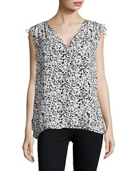 Lord And Taylor Sophia Shell Ink Dot Printed Top Black