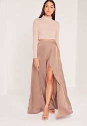 Missguided Satin Split Side Maxi Skirt Nude Bronze