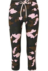 The Upside Nyc Cropped Camouflage Print Stretch Leggings Army Green