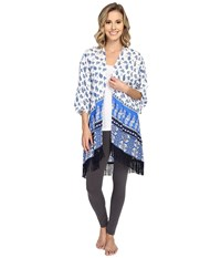 P.J. Salvage Coastal Blue Print Kimono Ivory Women's Blouse White