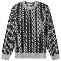 Saint Laurent Pattern Crew Knit Black