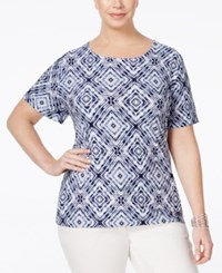 Jm Collection Woman Jm Collection Plus Size Printed Jacquard Top Only At Macy's Intrepid Blue Tiedye