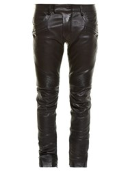 Balmain Biker Slim Leg Leather Trousers Black