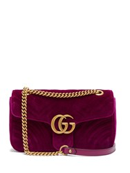 Gucci Gg Marmont Quilted Velvet Cross Body Bag Purple