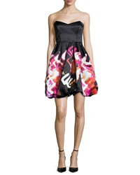 Parker Black Remi Strapless Printed Cocktail Dress Holiday Lights