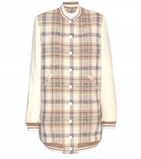 Chloe Wool Blend Bomber Jacket With Leather Sleeves Multicoloured