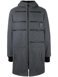 Letasca Zip Detail Hooded Coat Grey
