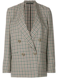 Paul Smith Checked Double Breasted Jacket Nude And Neutrals