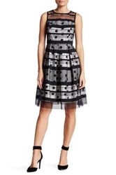 Sandra Darren Illusion Polka Dot Fit And Flare Dress Petite Black