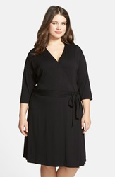 Vince Camuto Jersey Faux Wrap Dress Plus Size Rich Black