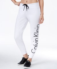 Calvin Klein Performance Logo Fleece Sweatpants White