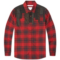 White Mountaineering Patchwork Shirt Red And Grey