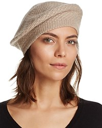 Bloomingdale's C By Waffle Knit Cashmere Beret Light Oatmeal