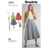 Simplicity Misses' Women's Vintage 1950'S Skirt And Bolero Sewing Pattern 8250