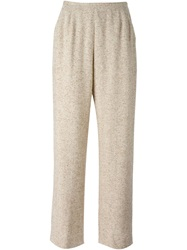 Jean Louis Scherrer Vintage Speckled Gaucho Trousers Nude And Neutrals